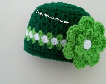 Girls St. Patrick's Day Hat, Newborn St. Patricks Day Photo Prop, St. Patrick's Day, Crochet St. Patrick's Day Hat, Baby St. Patrick's Baby