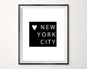 NYC print / Love heart / Monochrome new york city print / Black and white new york print / New York City / Travel poster / Love new york