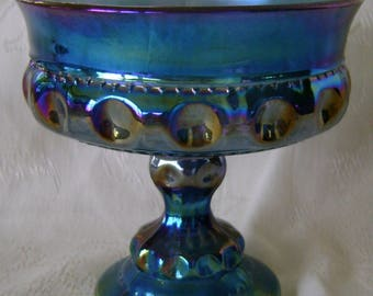 "Vintage iridescent blue pedestal 5"" Wedding Bowl compote by Indiana Glass in King's Crown/Thumbprint pattern"