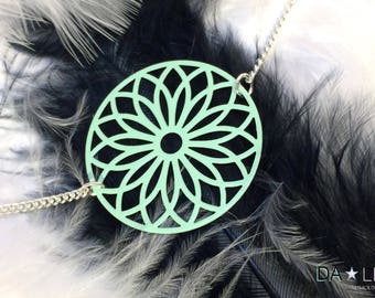 """Necklace """"Rosace"""", minty Green"""