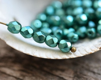 4mm Czech glass round beads, 50pc Coated Lustrous Teal fire polished beads, round spacers - 50Pc - 1636