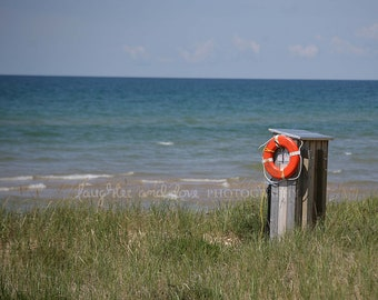 Life Preserver Beach Shack Photo, Landscape Photography, Lake Ocean Art, Blue Orange Cottage Decor, Lake House Coastal Home Decor Wall Art