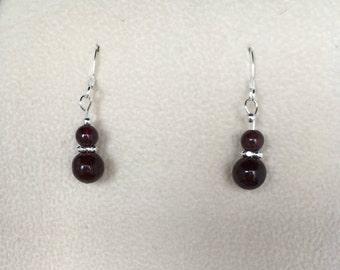 January Birthstone  - Garnet and sterling silver earrings, birthday gift