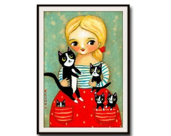 Tuxedo Cats and Kittens PRINT sweet little girl with pockets of kittens poster of painting created by Tascha