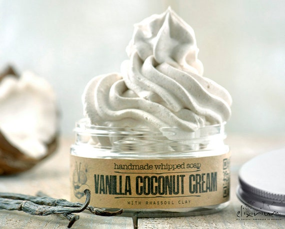 VANILLA COCONUT CREAM Whipped Soap • Vanilla and Coconut infused, extremely versatile vegan whipped cream soap.