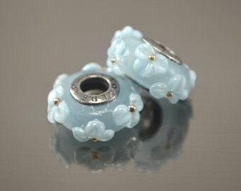 Lampwork beads for european bracelet, Handmade Lampwork European Charm Bracelet Bead, volume white flowers on blue, european charm beads