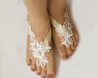 Light Ivory Beaded Lace  Wedding Barefoot Sandals, Bridal Foot Jewelry, Footless Sandal, Customizable Handmade-SD018