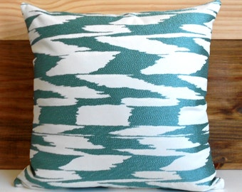 Teal metallic modern abstract ikat decorative throw pillow