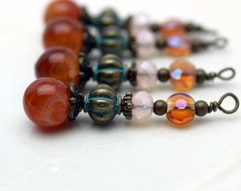 Vintage Style Orange Agate Bead Dangles, Charm, Drop Set, Earring Dangle, Jewelry Making, Pendant