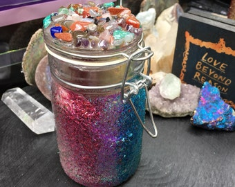 OOAK limted edition Large Rainbow Glitter Crystal Jar