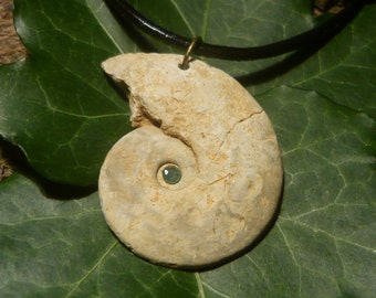 Ancient Sea - Natural Ammonite Pendant with Emerald