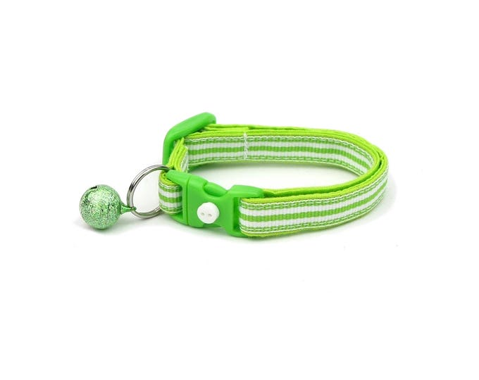 Striped Cat Collar - Horizontal Green and White Stripes  - Small Cat / Kitten Size or Large Size