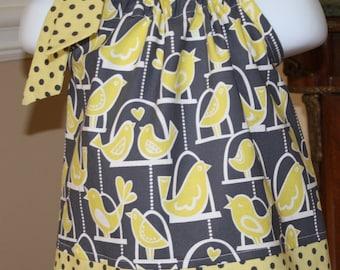 bird cage Pillowcase dress gray citron yellow Michael Miller Polka Dot toddler  dress