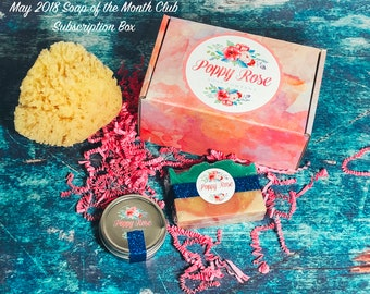 Soap of the Month Club! | May 2018 Subscription Box | Sea Sponge | Olive Oil | Cold Process Soap | Limited Edition