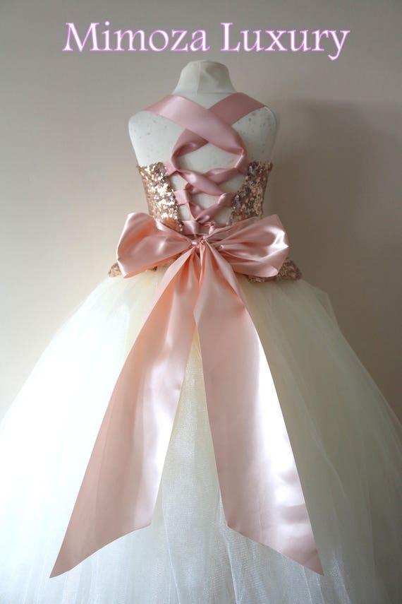 Rose Gold Flower Girl Dress, rose gold bridesmaid dress, couture flower girl gown, bespoke girls dress, tulle princess dress, rose gold tutu
