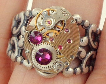 Classic Steampunk Ring, Amethyst Purple Swarovski Crystals, Vintage Ruby Jeweled Watch Movement, Adjustable Filigree Band,Edwardian Fantasy