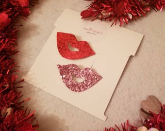 Glitter lips clip / red / pink