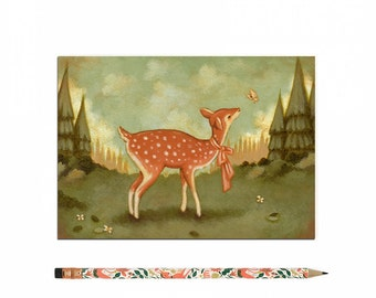 Deer Postcard, Deer Card, Deer, Fawn, Animal Art, Cute, Woodland, Forest, Woods