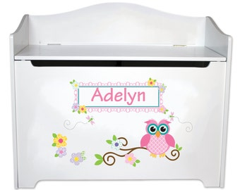 Personalized Owl Toy Box Childrens Toybox Bench boys girls woodland owl nursery Childs Toy Chest Toy Boxes Furniture Owls BENC-whi-302