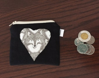 Coin Purse -  fox heart design