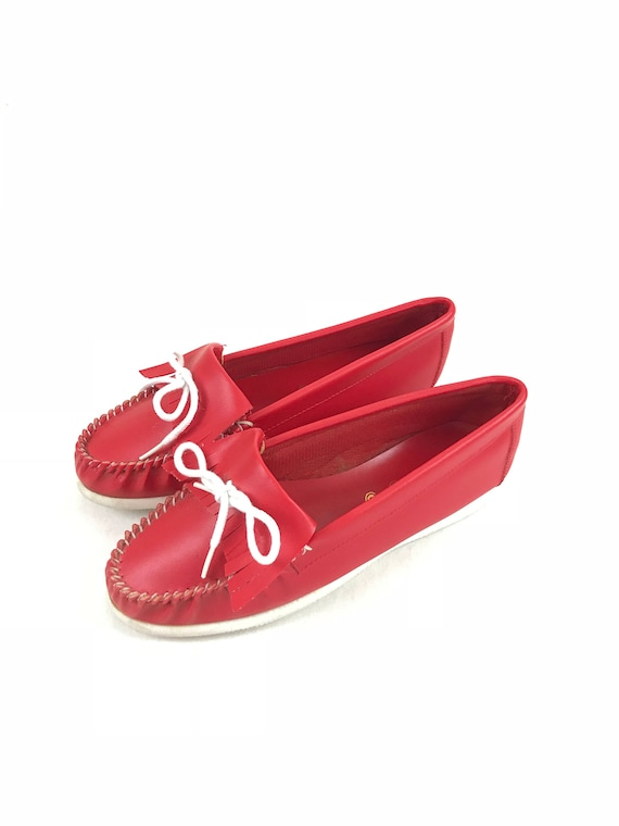red slip made leather vegan 70s retro flats on moccasins moccasin 1970s man hippie moccasins moccasins boho flats faux shoes moccasins 8w5qU