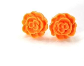 Orange Earrings - Flower Posts