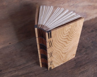 rustic journal-unique handmade wood book in natural oak - brown - fall wedding guest book - ready to ship