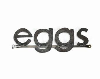 Metal Typography Eggs Word Sign