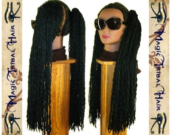 "Black DREAD FALLS 2 dreads ponytails 140 dreadlocks 24"" extension R'n'B Reggae Hip Hop Goth steampunk Reenactment hair falls Tribal Fusion"