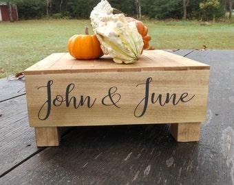 "16"" x 16"" Custom Rustic Wedding Cake Stand, Custom Wood Cake Stand, Box Stand, Cupcake Stand, Rustic Wood Decor"