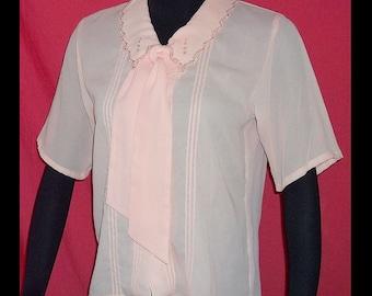 Soft Peach Georgette Vintage 80s Secretary Tie Neck Blouse M Convertible