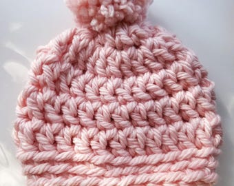 Top knot PomPom crocheted beanie
