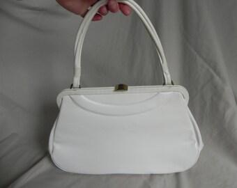 1950's or 1960's French White Vinyl Classic Handbag Purse by Dofanette