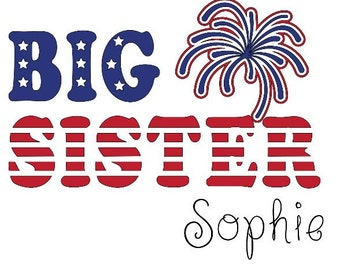 Big Sister/Brother 4th of July Announcement Flag Shirt