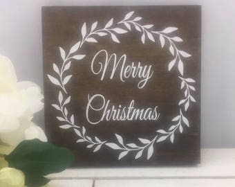 """Merry Christmas Sign-Rustic 9""""x 9"""" Sign-Merry Christmas Wreath Sign-Holiday Gift-Wood Christmas Sign"""