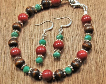 Wood and Red Bracelet and Earring set