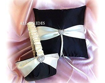 Weddings basket and ring pillow,  black and white or ivory flower girl basket and ring bearer pillow
