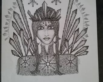Chelene.  A print. A striking lady. An Ice Queen.