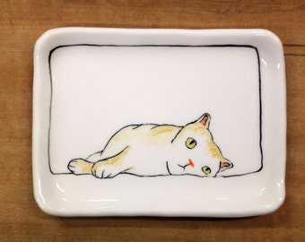 Hand made & animal painted  Versatile dish - Soap Dish - Jewelry Dish - Ceramic Dish - Cat Dish 3
