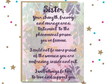 Transgender Support, Trans Support Card, Card for Trans Sister, Coming Out Card