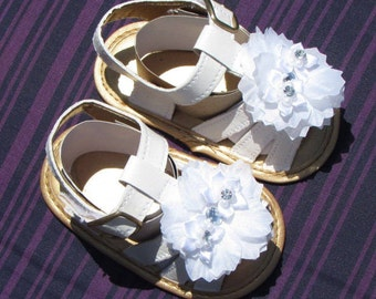 Free Shipping Baptism Christening Wedding Gown Baby Girl White Sandal Rhinestones Flower Handmade Soft Shoes
