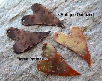 2 COPPER FUNKY HEART Hammered Patina Charms