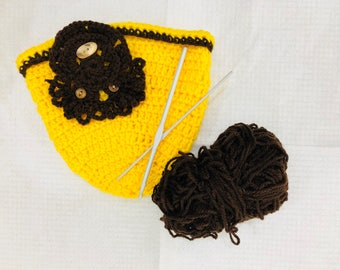 Yellow & chocolate brown new born crocet hat
