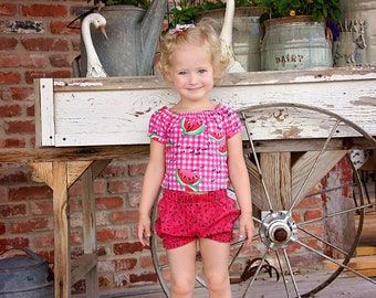 Watermelon Bloomers Set, Crop Top, Peasant Top, Girls Bloomers, Baby Shorts, Girls Clothing, Summer Outfit