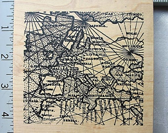 RARE XL Toybox Ancient Map DESTASH Rubber Art Stamp, Used Rubberstamp