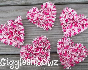 NeW SMaLLeR SiZE- Set of 5 Beautiful Shabby Chic Chiffon HEART Appliques- HoT PiNK HeART PRiNT  3 inch