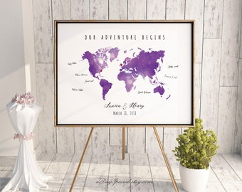 Purple world map etsy printable purple lavender watercolor world map guest book editable pdf template diy large print poster gumiabroncs Image collections