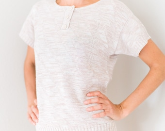 Vintage 70s 80s Natural Cream Off White Knitted Knit Sweater Tee Top Size Small S Modeled On Extra Small XS!