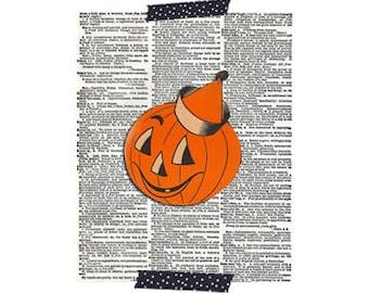Halloween Pumpkin Print - Halloween Pumpkin Print - Vintage Halloween Clip Art - Printable Halloween Graphic Image -Digital Download