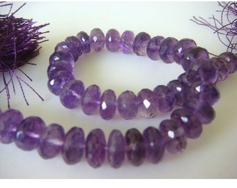 Amethyst Rondelles - 8mm Micro Faceted Rondelles - 9 Inch Strand - 38 Pieces Approx